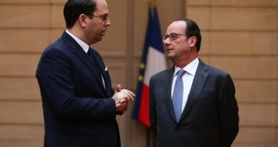 Hollande avec M. Youssef Chahed, chef du gouvernement tunisien - Source photo: elysee.f