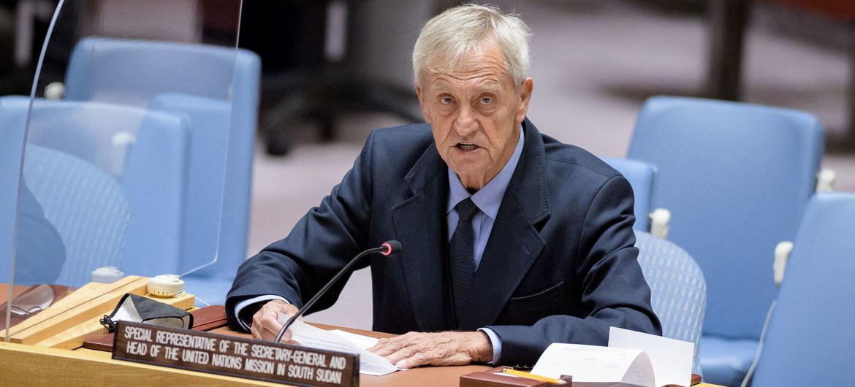 Nicholas Haysom, Représentant spécial du Secrétaire général pour le Soudan du Sud, devant le Conseil de sécurité en juin 2021.
